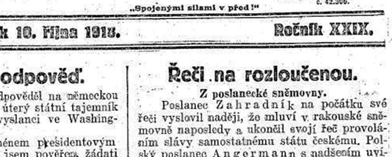 Ilustrační náhled stránky z novin