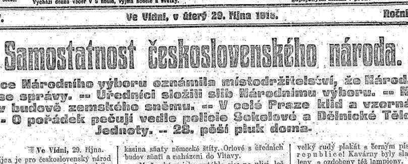 Ilustrační náhled stránky dobových novin